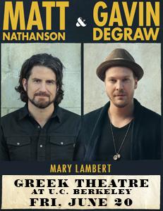 Gavin Degraw & Matt Nathanson at Greek Theatre Berkeley